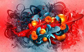abstração, gráficos, tornar, colagem, Flores