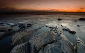 mare, apus de soare, plajă, pietre
