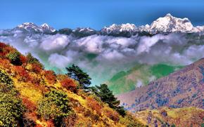 Sinhala, Bengalul de Vest, India, Himalaya, nori, toamnă, Munți