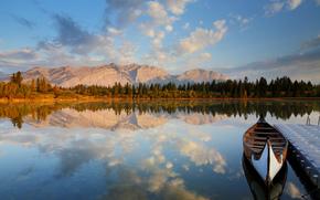 lac, pădure, barcă, debarcader, reflecție, Munți
