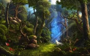 белый, животное, олень, цветы, лес, деревья, арт