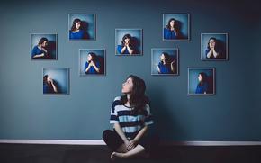 emoțiile, fotografie, gesturi, portrete, fată, perete