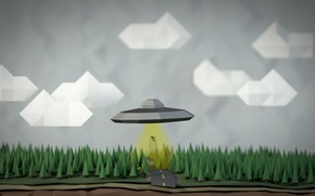geometria, céu, UFO, abdução, figuras, homem