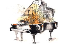 Piano, musique, pluie, personnes, aquarelle, Art, dessin, ville