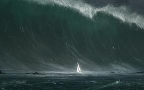 vague, expédier, mer, naviguer, tempête