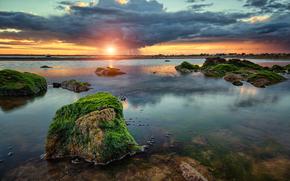 Bay, coucher du soleil, pluie, ALGUES, nuages, noyaux