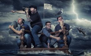 tempête, radeau, hommes