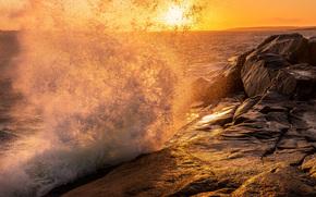море, закат, скалы, всплеск, пейзаж
