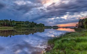 закат, река, деревья, берег, пейзаж
