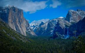 Yosemite, горы, водопад, деревья, пейзаж