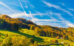 toamnă, Hills, copaci, acasă, peisaj