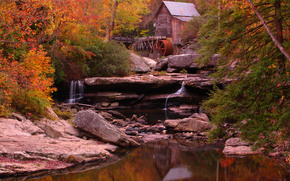 autumn, forest, small river, waterfall, mill, landscape