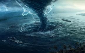 navios, água, tornado, relâmpago, 3d, gráficos