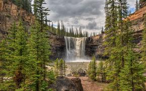 водопад, скалы, деревья, пейзаж