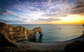 England, sunset, sea, Rocks, arch, durdle door