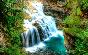 waterfall, Rocks, nature