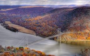 The Bear Mountain Bridge, New York, autumn, bridge, forest, river, landscape