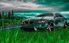 Tony Kokhan, BMW, M3, E92, Crystal, Nature, Car, Green, Grass, el Tony Cars, Photoshop, Art, HD Wallpapers, Тони Кохан, Фотошоп, БМВ, М3, Эмка, Е92, Прозрачная, Машина, Прозрачное, Авто, Природа, Зеленая, Трава, Обои, Арт, Стил