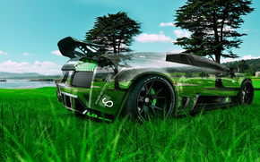 Tony Kokhan, Lamborghini, Murcielago, LB Works, Crystal, nature, green, grass, tuning, style, photoshop, el Tony Cars, Tony Cohan, Photoshop, style, wallpaper, Lamborghini, Mursielago, Transparent, tuning, GREEN, grass, nature