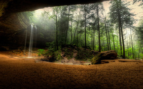 лес, деревья, туман, скалы, водопад, природа, пейзаж