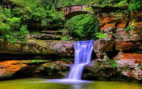водопад, водоём, арка, скалы, лес, деревья, природа