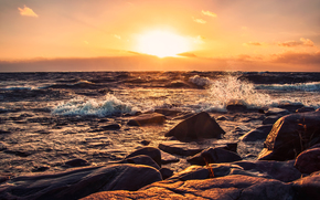 apus de soare, mare, Rocks, pietre, valuri, peisaj