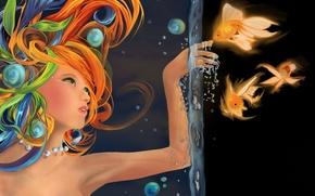 рисунок, рыбы, девушка, вода, рыбки