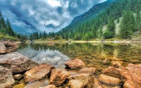горы, озеро, камни, пейзаж