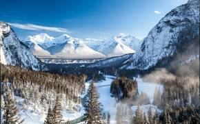 Mountains, winter, river, Banff, Canada