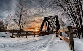 iarnă, apus de soare, rutier, pod, peisaj