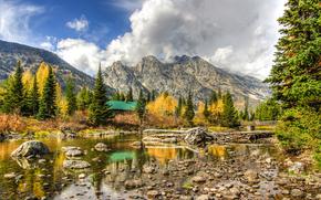 река, мост, горы, осень, деревья, пейзаж