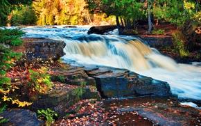 râu, toamnă, cascadă, Rocks, peisaj