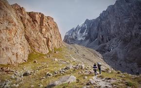 Kirguistán, Bishkek, montañismo, naturaleza, Montañas, Rocas, cañón, Ala-Archa, subir, base, Razek, dibujo, acuarela, Michael mukhortov, jc-mike, estudio de diseño de la buena suerte, capricornus
