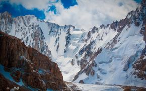 Kyrgyzstan, Bishkek, mountaineering, nature, Mountains, Rocks, glaciers, ice, canyon, Ala-Archa, rise, base, Razek, drawing, watercolor, Michael Mukhortov, jc-mike, design studio good luck, capricornus