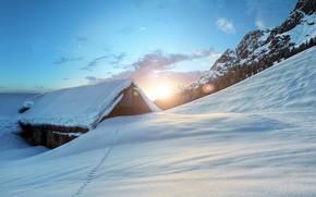 inverno, pôr do sol, Montanhas, cabine, paisagem