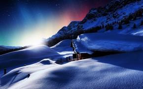 pôr do sol, cabine, Montanhas, inverno, neve, paisagem