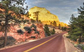 Zion National Park, Utah, rutier, Munți, copaci, peisaj