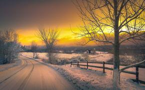 peisaj, iarnă, apus de soare, zăpadă, rutier