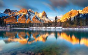 peisaj, natură, Munți, lac, reflecție, Alberta, Canada