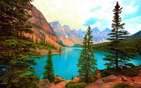 Moraine Lake, Banff National Park, Canada, lac, copaci, Munți, peisaj