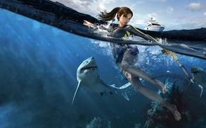 sea, girl, Shark