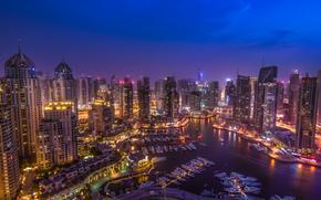 Dubai, UAE, Dubai, UAE, city nightlife, panorama, road, building