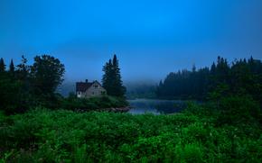 Jacques Cartier National park, river, trees, cabin, fog, landscape