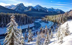 winter, river, Mountains, trees, railroad, Bow river, Canada, landscape