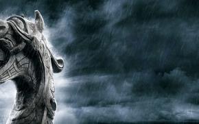 vikings, дракар, дождь, язык, клыки, дракон