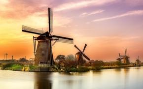 apus de soare, râu, Olanda, moara, peisaj