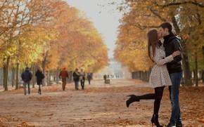 meninas, beijar, outono