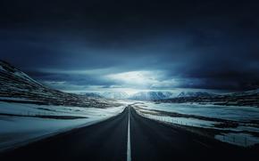 дорога, горы, тучи, пейзаж