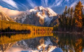 1920x1440, вода, горы, деревья, лес небо, осень, природа, снег