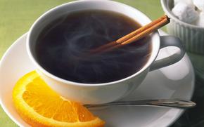 чашка, блюдце, долька, апельсина, чай, корицаа